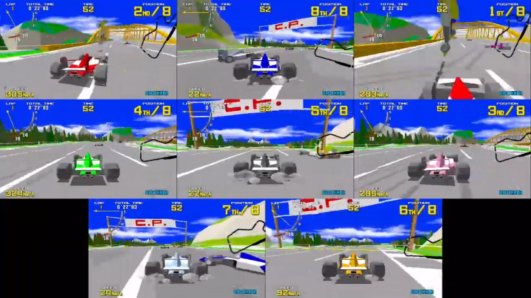Sega Ages Virtua Racing 8 player madness