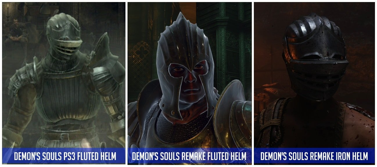 Demon's Souls Remake Fluted Helm differences - female