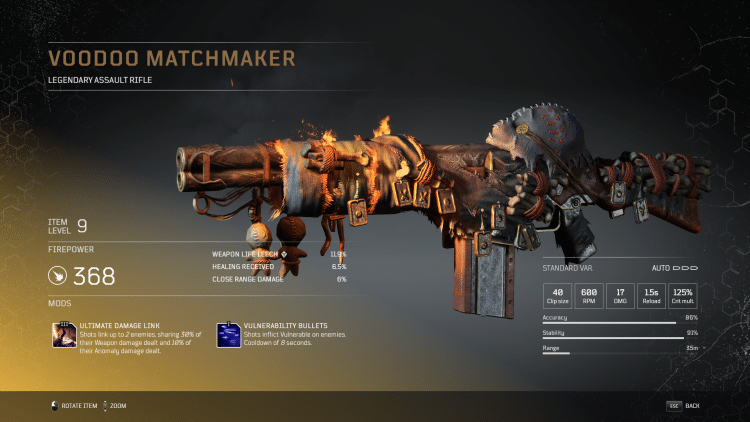 Outriders Legendary Assault Rifle - Voodoo Matchmaker