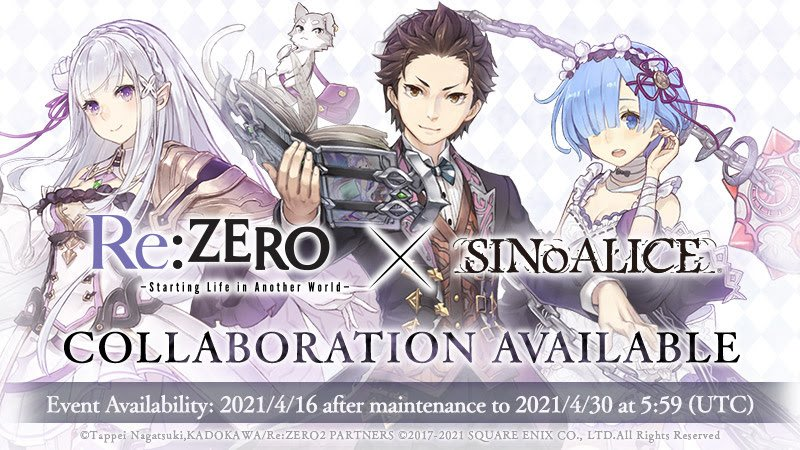 Yoko Taro's SINoALICE and Re:ZERO Anime Collab Begins Today